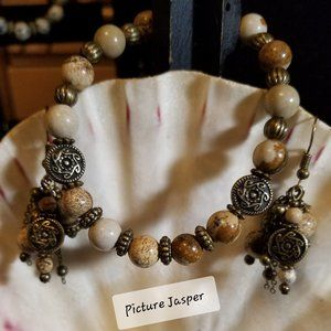 2 pc Picture Jasper Bracelet & Earring Set